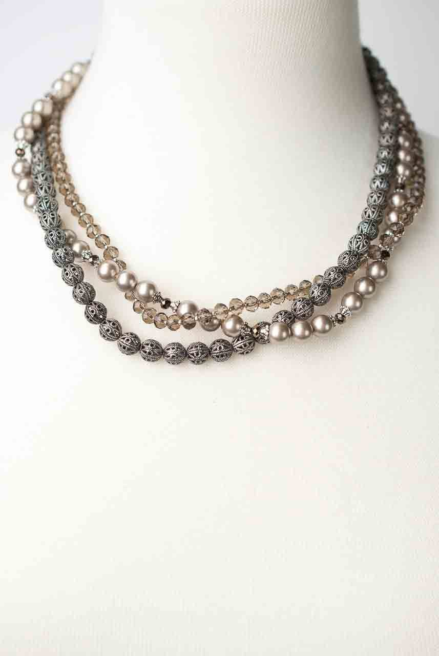 "Windsor Castle 20-22"" Multi strand Necklace"