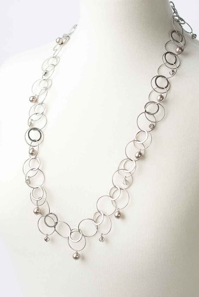 "Windsor Castle 30"" Pearl and Hoop Chain Necklace"