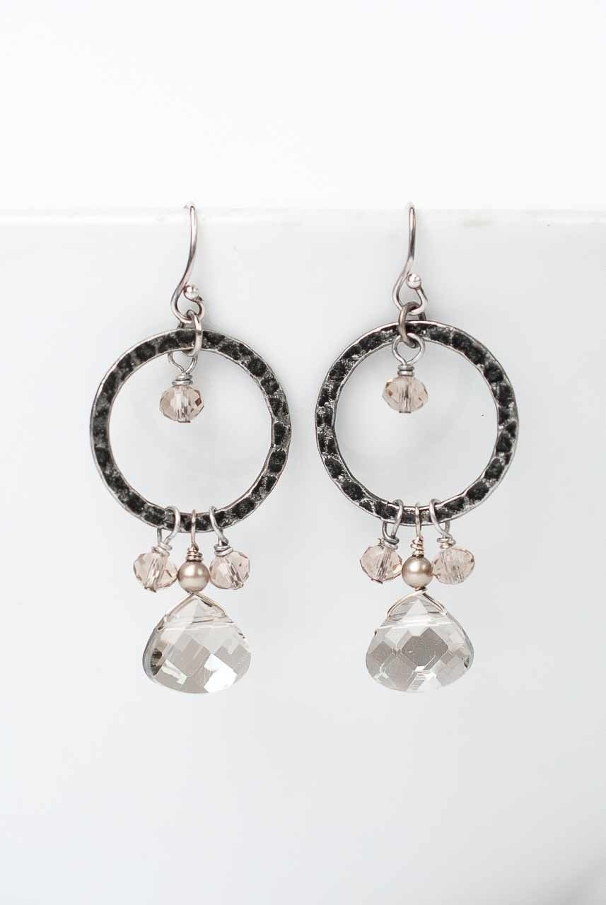 Windsor Castle Hammered Hoop Dangle Crystal Earrings