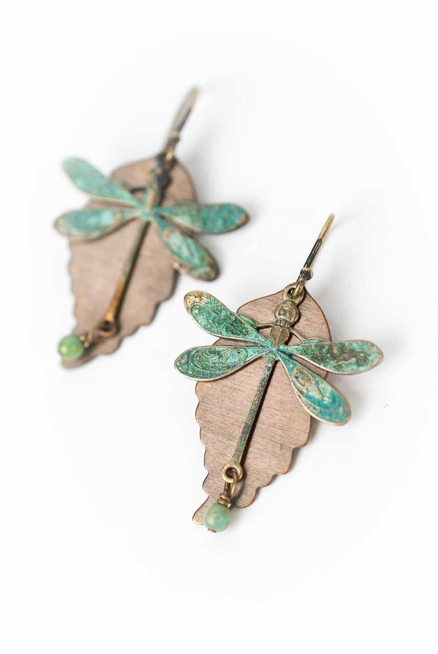 Rustic Creek Dragonfly Copper Leaf Earrings