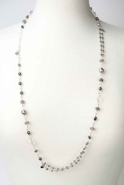 "Silver Mix 34-36"" Pearl & Gemstone Long Layer Collage Necklace"