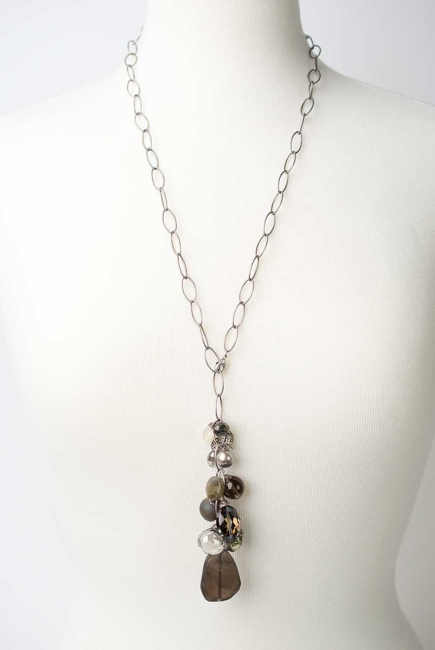 "Windsor Castle 26.5"" Gemstone Dangle  Focal Necklace"