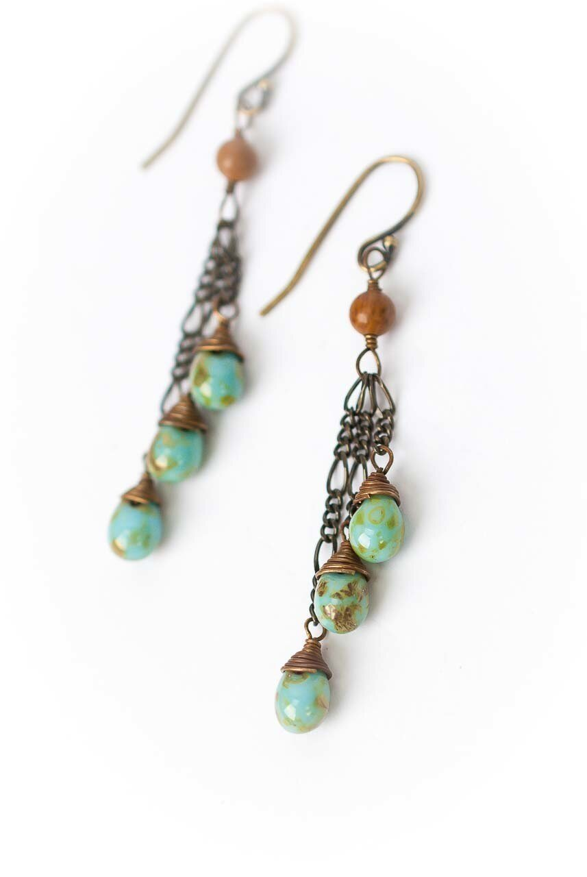 Rustic Creek Czech Glass Briolette Dangle Earrings