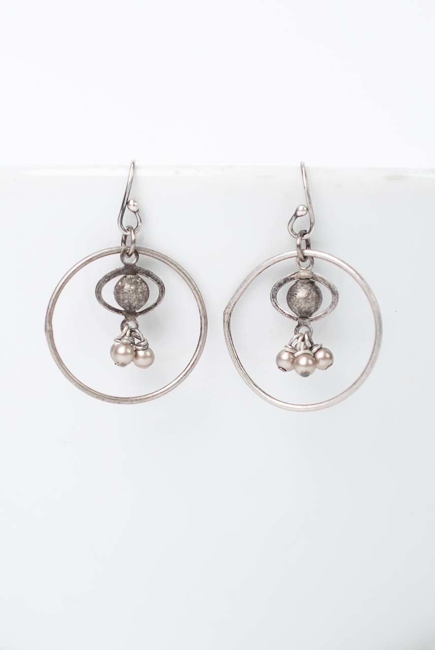 Windsor Castle Pearl Hoop Dangle Earrings