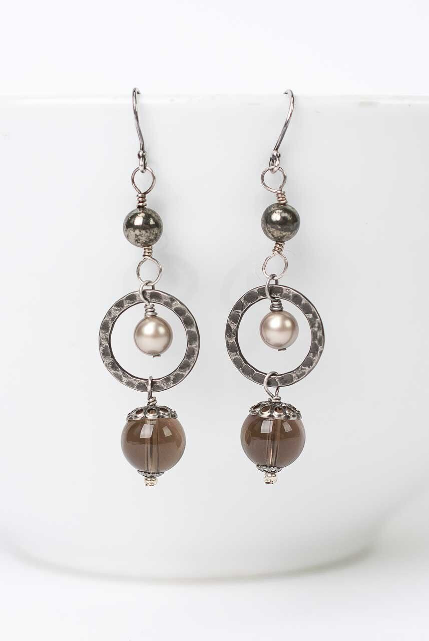 Windsor Castle Pearl and Quartz Dangle Earrings