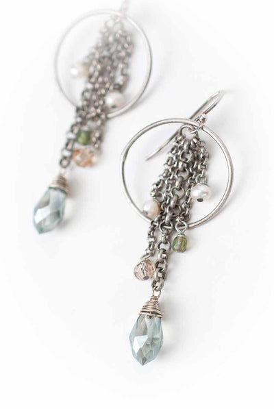 Mint Julep Crystal Hoop Dangle Earrings