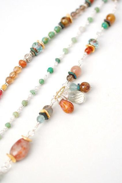 "Gentle Breeze 7.5-8.5"" Gemstone Multistrand Silver Bracelet"