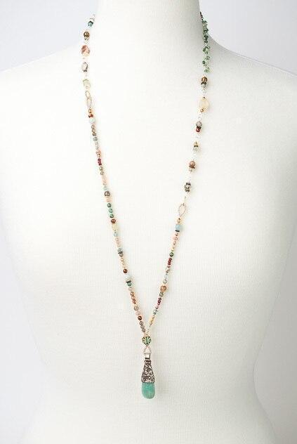"Gentle Breeze 33-35"" Long Gemstone Layer Pendant Necklace"