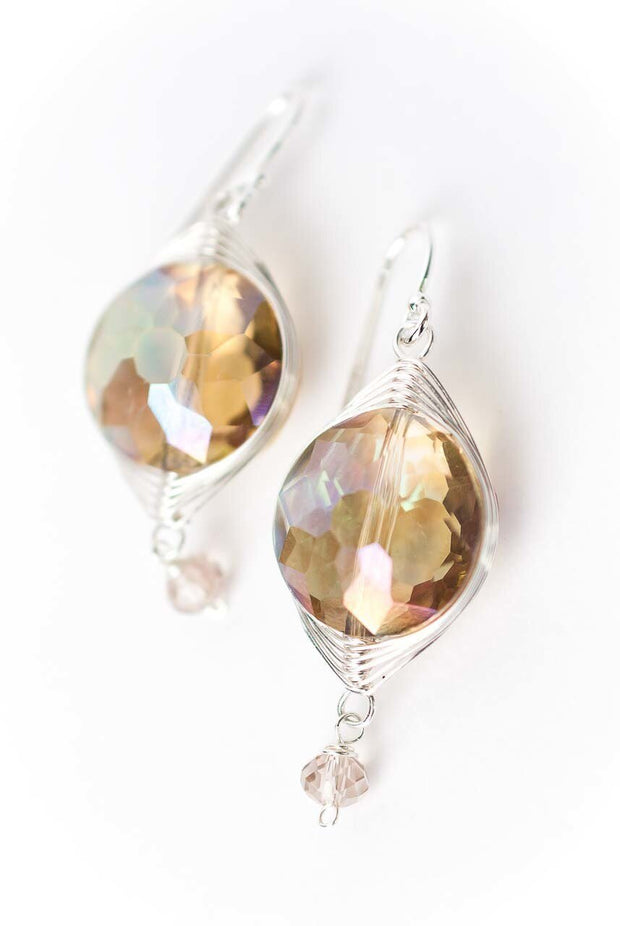 Herringbone Citrus Crystal Earrings 1