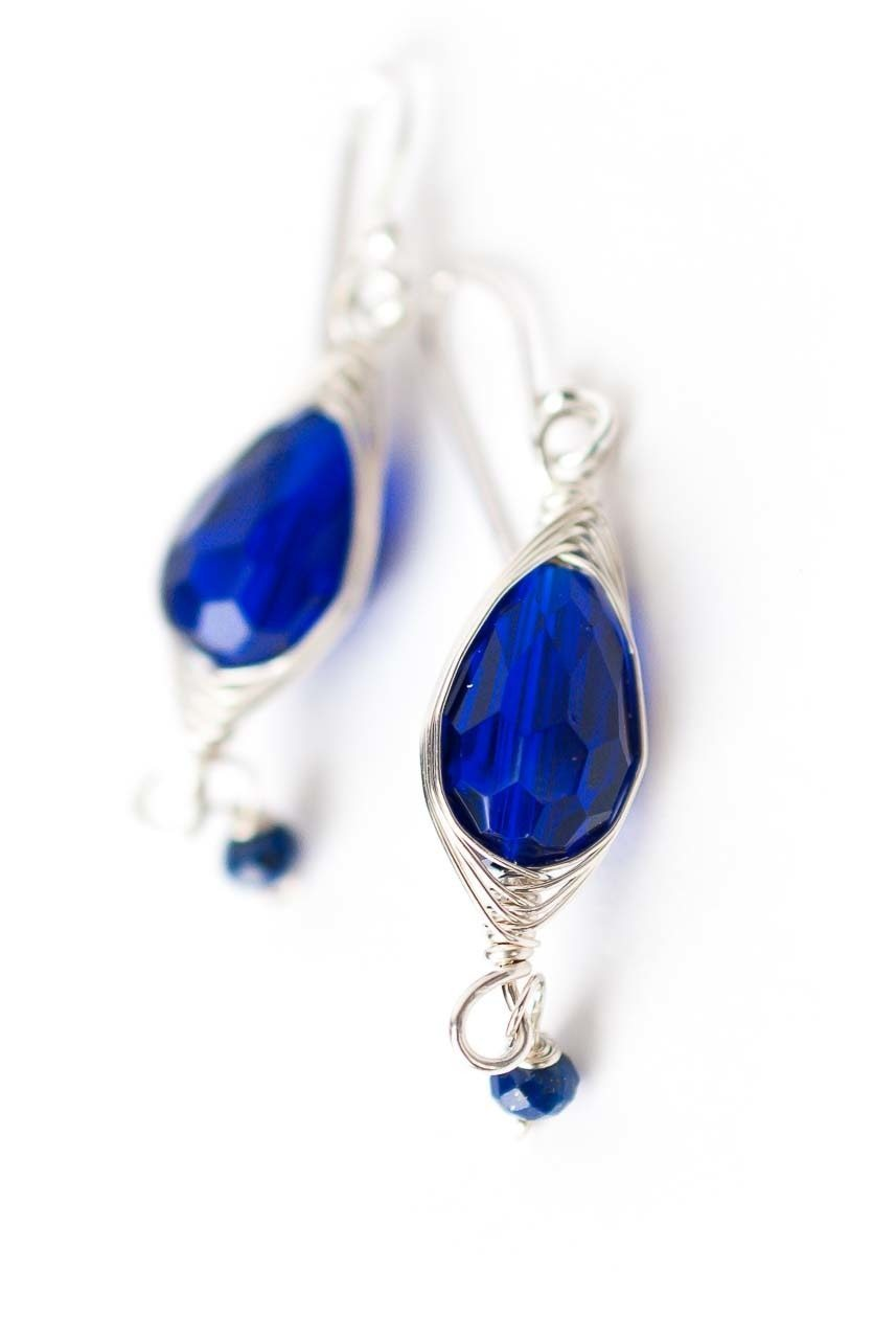 Herringbone Blue Lapis & Crystal Earrings