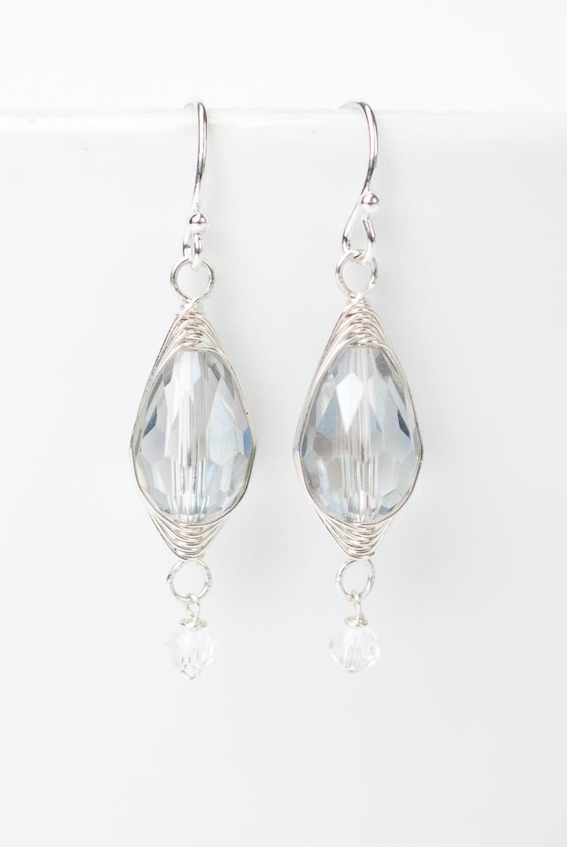 Herringbone Clear Oblong Dangle Earrings