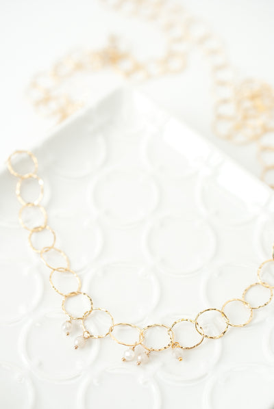 "Selena 31.5"" Gold Chain, Moonstone Layer Necklace"