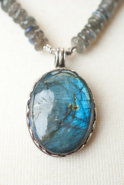 "One of a Kind 19.5"" Labradorite and Fine Silver Focal Necklace"