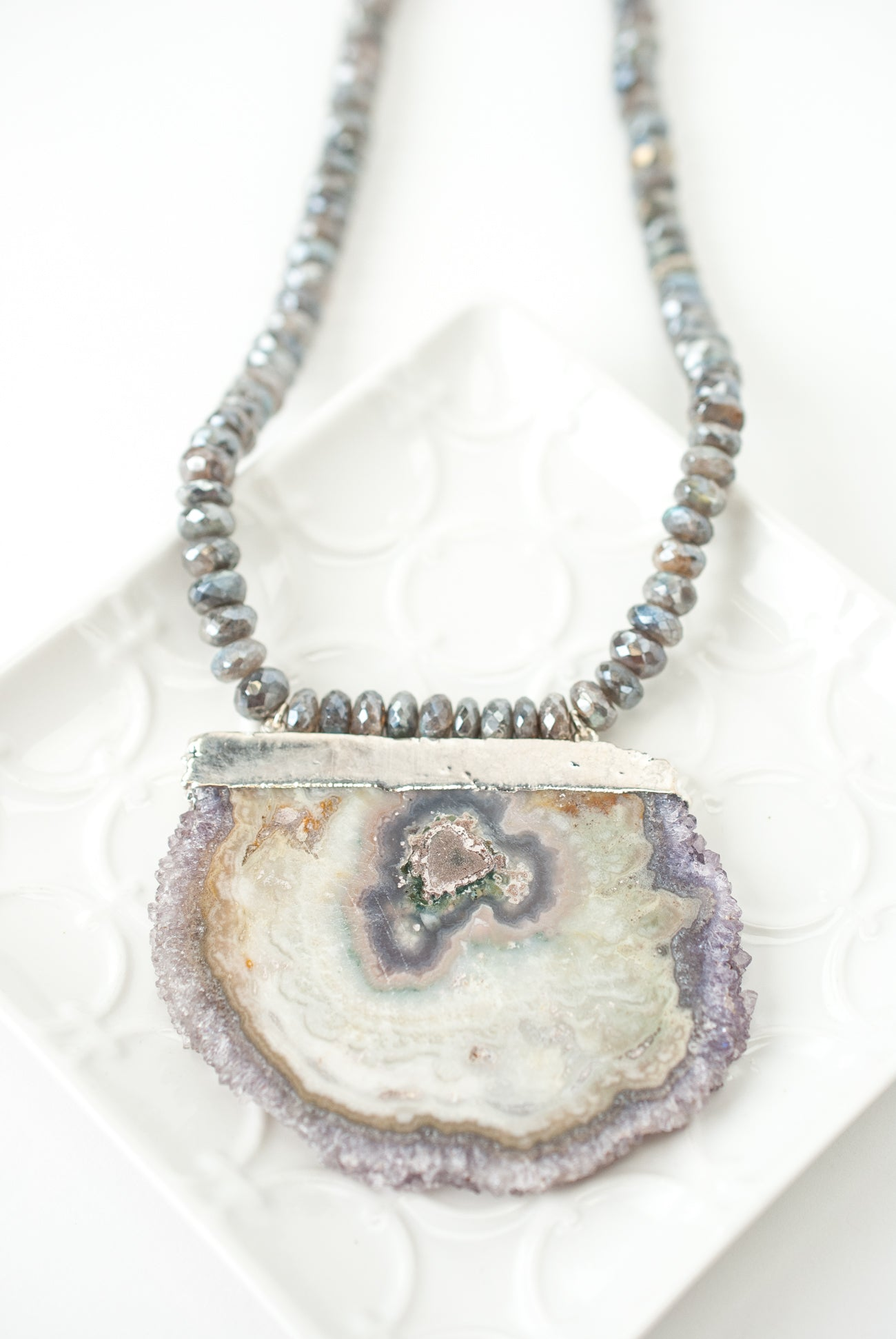 "*One of a Kind 34-36"" Labradorite and Mineral Slice Focal Necklace"