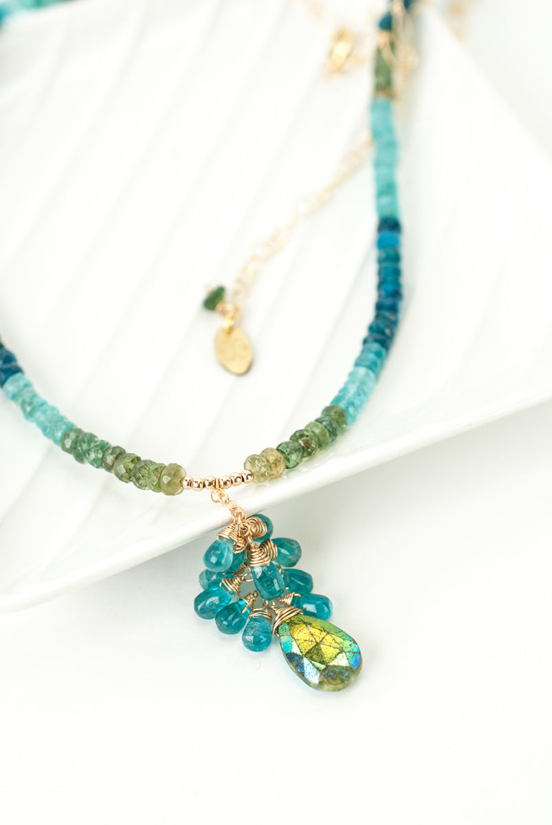 "Limited Edition 21-23"" Apatite, Hessonite Garnet Cluster Necklace"