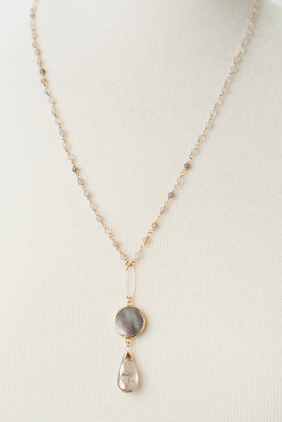 "Limited Edition 22.5-24.5"" Golden Rutilated Quartz, Mother of Pearl Focal Necklace"