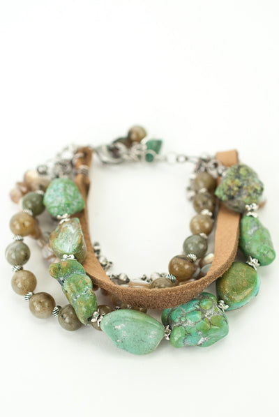 "One of a Kind 7.5-8.5"" Turquoise, Abalone, Leather Multistrand Bracelet"
