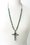 "One of a Kind 33-35"" Natural Turquoise, Royston Turquoise Cross Focal Necklace"