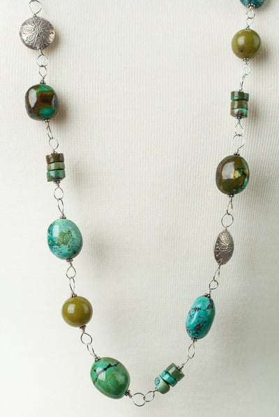 "One of a Kind 43"" Natural Turquoise Chunky Wire Wrap Necklace"