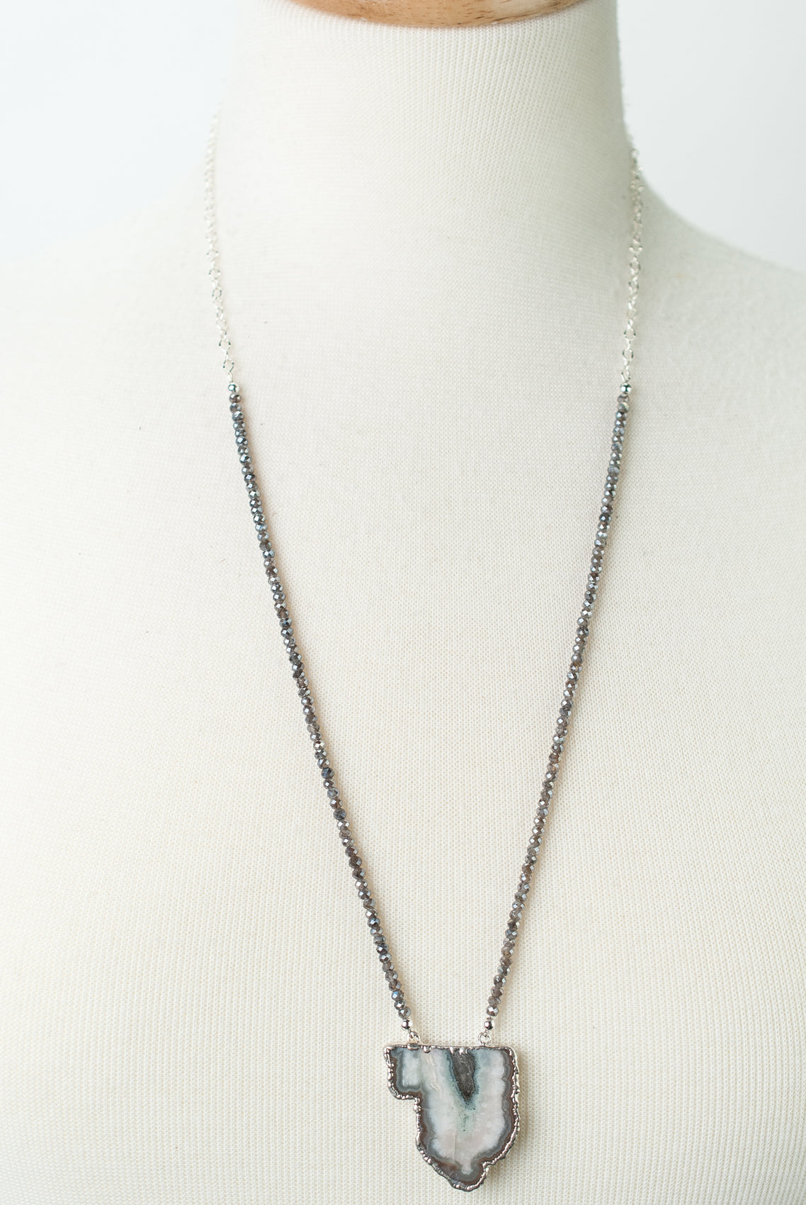 "*One of a Kind 26-28"" Moonstone, Mineral Slice Focal Necklace"