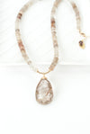 "One of a Kind 17.5-19.5"" Golden Rutilated Quartz Focal Necklace"