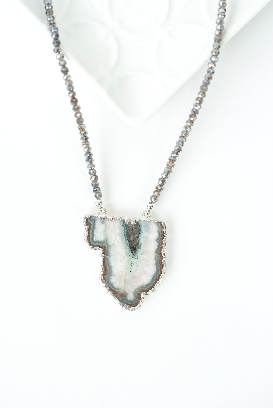 "One of a Kind 26-28"" Moonstone, Mineral Slice Focal Necklace"