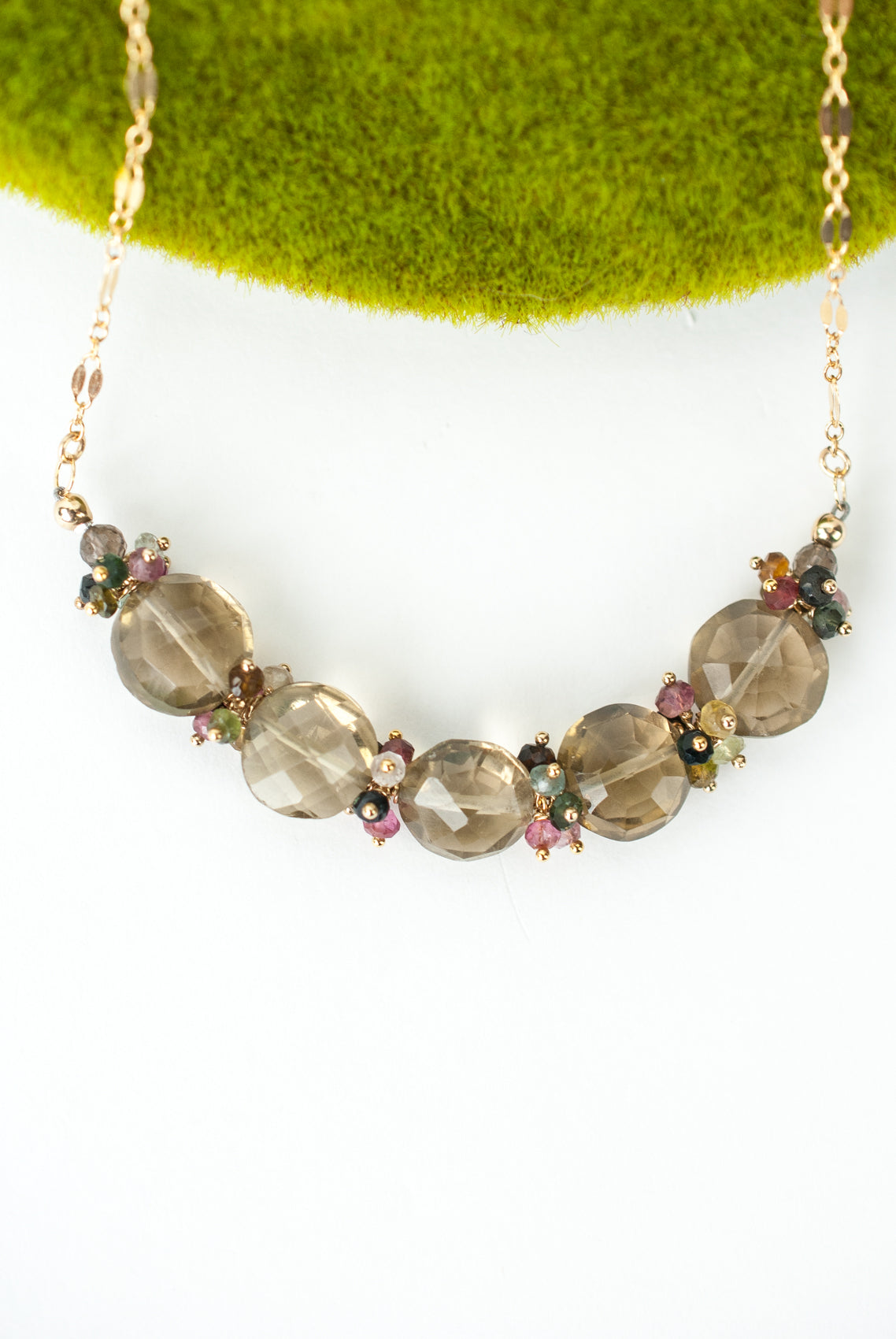 "Limited Edition 16.5-18.5"" Tourmaline, Smokey Quartz Cluster Necklace"