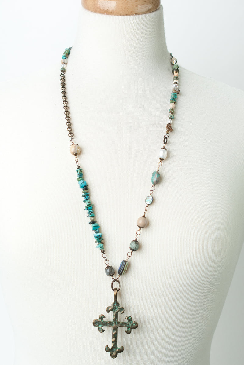 "One of a Kind 30-32"" Pearl, Turquoise, Patina Cross Focal Necklace"