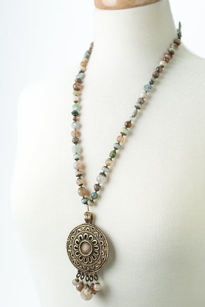 One of a Kind Adjustable Leather, Opal, Jasper, Vintage Focal Necklace