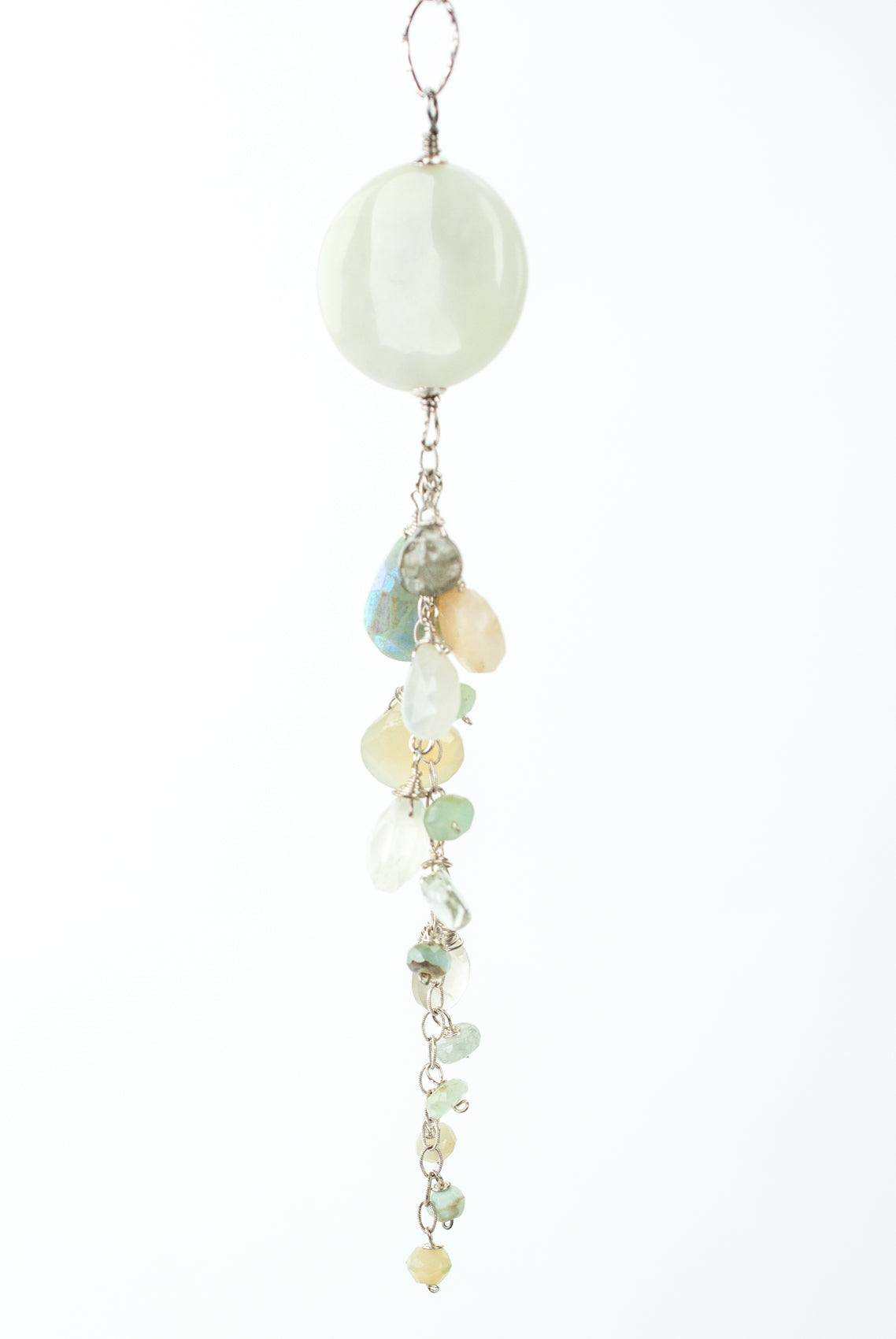 "One of a Kind 22-24"" Prehnite, Moonstone, Jasper Cluster Focal Necklace"