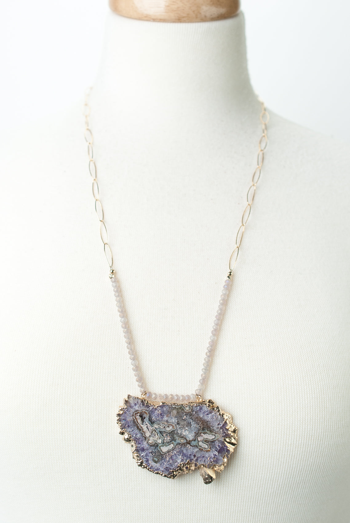 "*One of a Kind 28.5-30.5"" Stalactite Slice Focal Necklace"