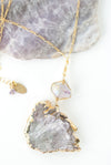 "One of a Kind 22-24"" Natural Amethyst Focal Necklace"