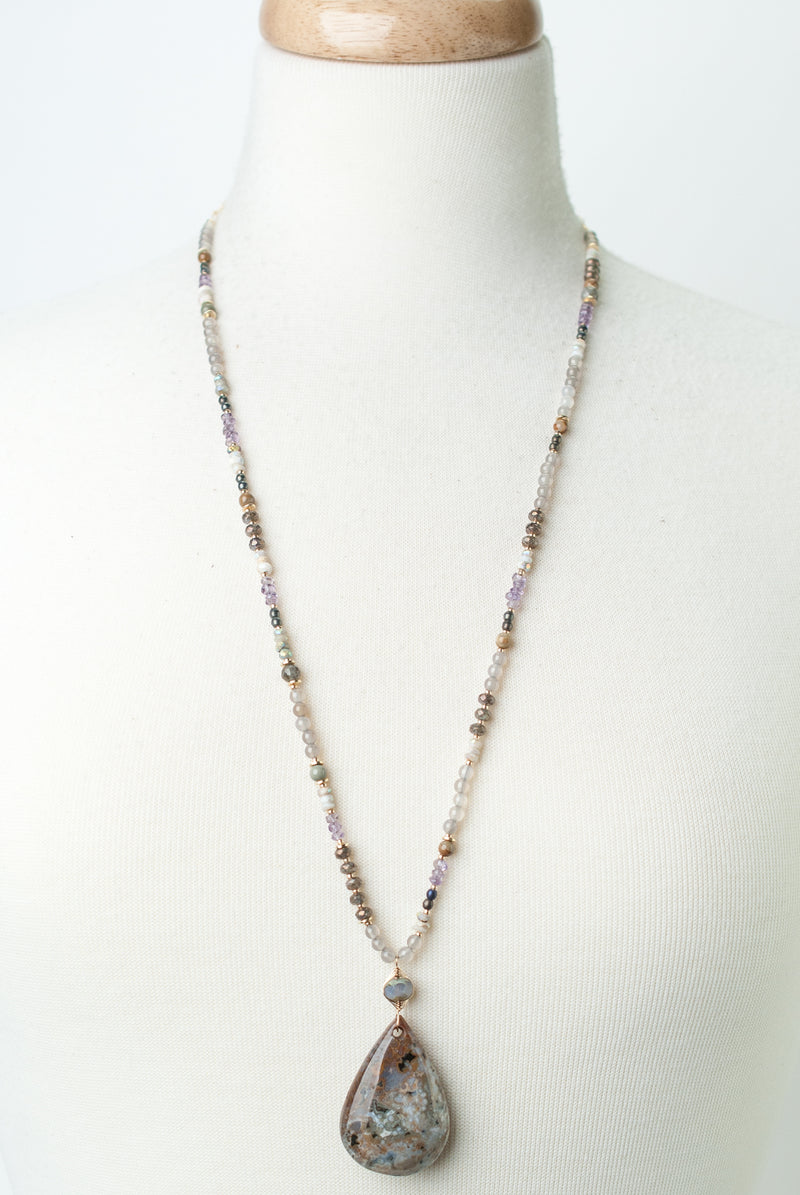 "One of a Kind 29-31"" Amethyst, Moonstone, Jasper Necklace"