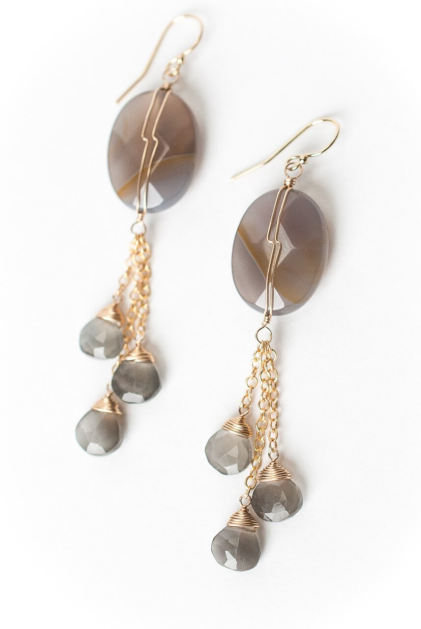 Sevenly Botswana Agate Tassel  Dangle Earrings