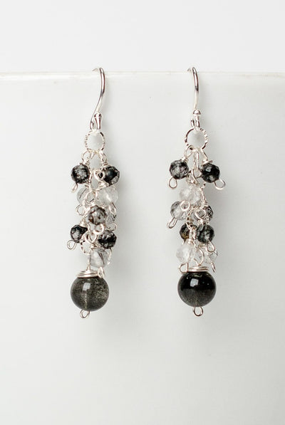 Luna Rutilated Quartz Cluster Dangle Earrings