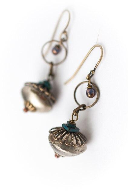 Eat Love Pray Brass Dangle Drop Earrings