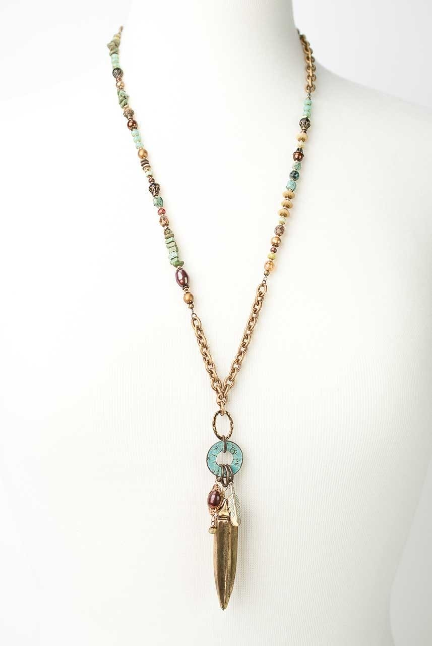 "Anahata 28-30"" Gemstone Okra Tassel Necklace"