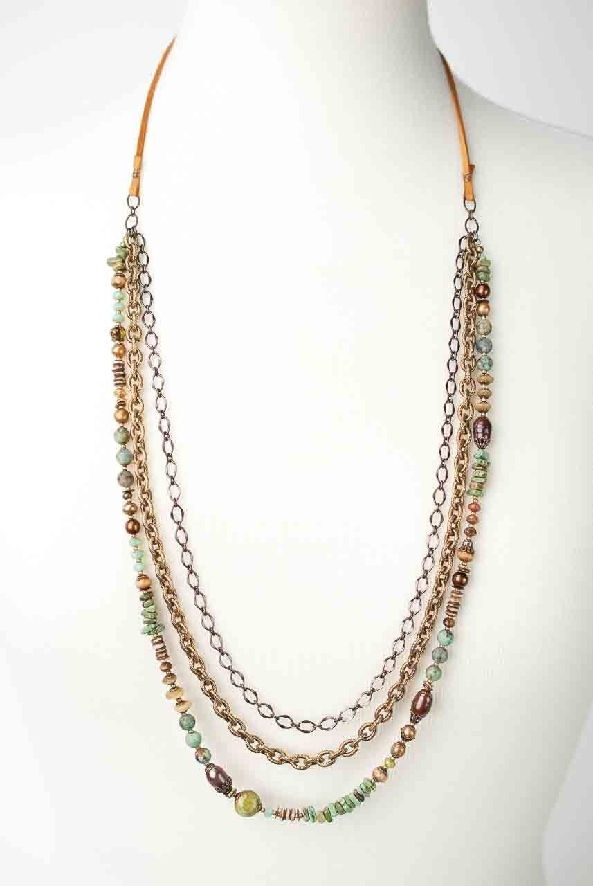 Anahata Adjustable Leather Multistrand Necklace