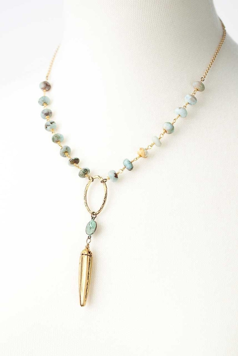 "Anahata 18-20"" African Turquoise Okra Focal Necklace"