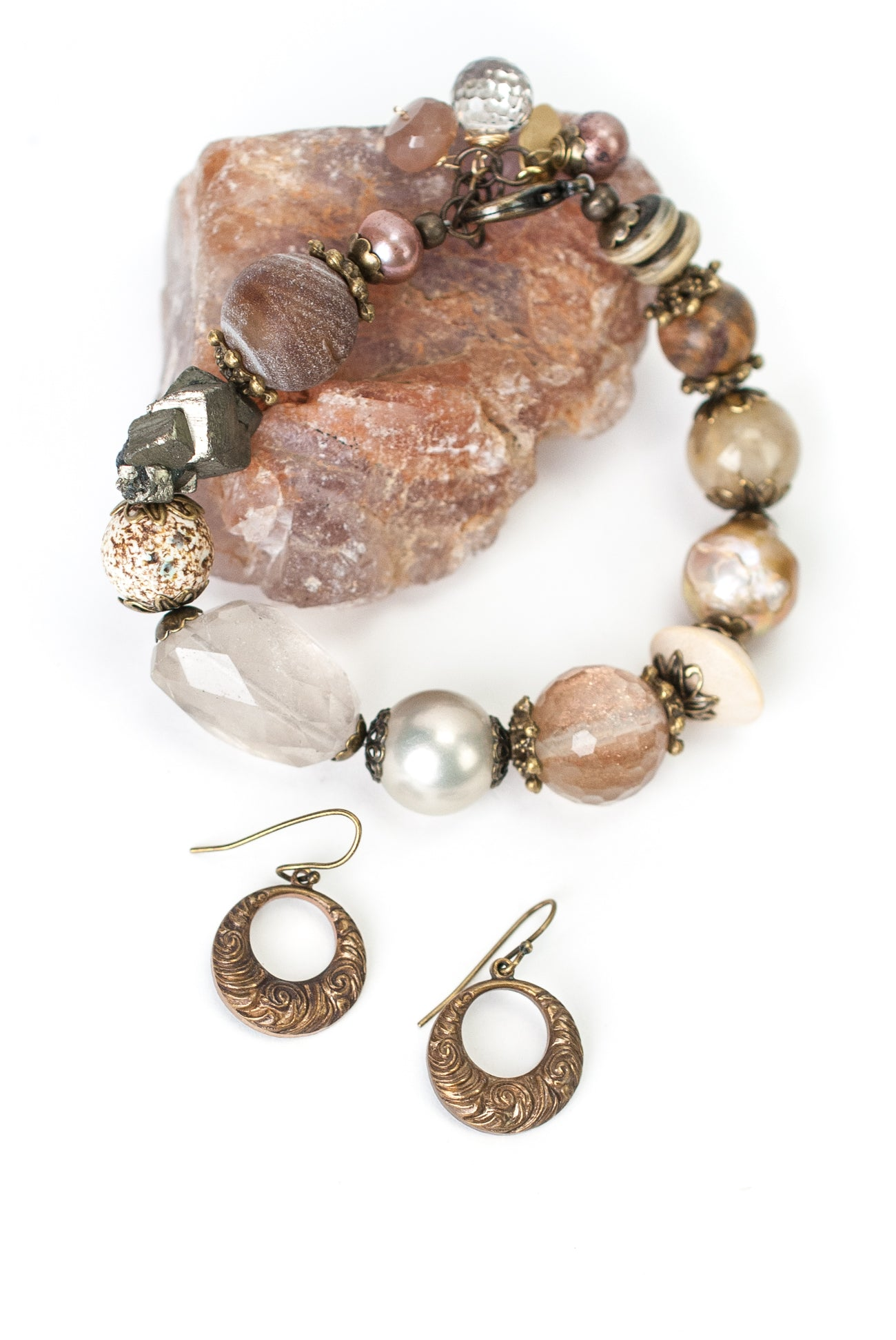 One of a Kind Druzy, Pyrite, Czech Glass Collage Bracelet and Earrings Set