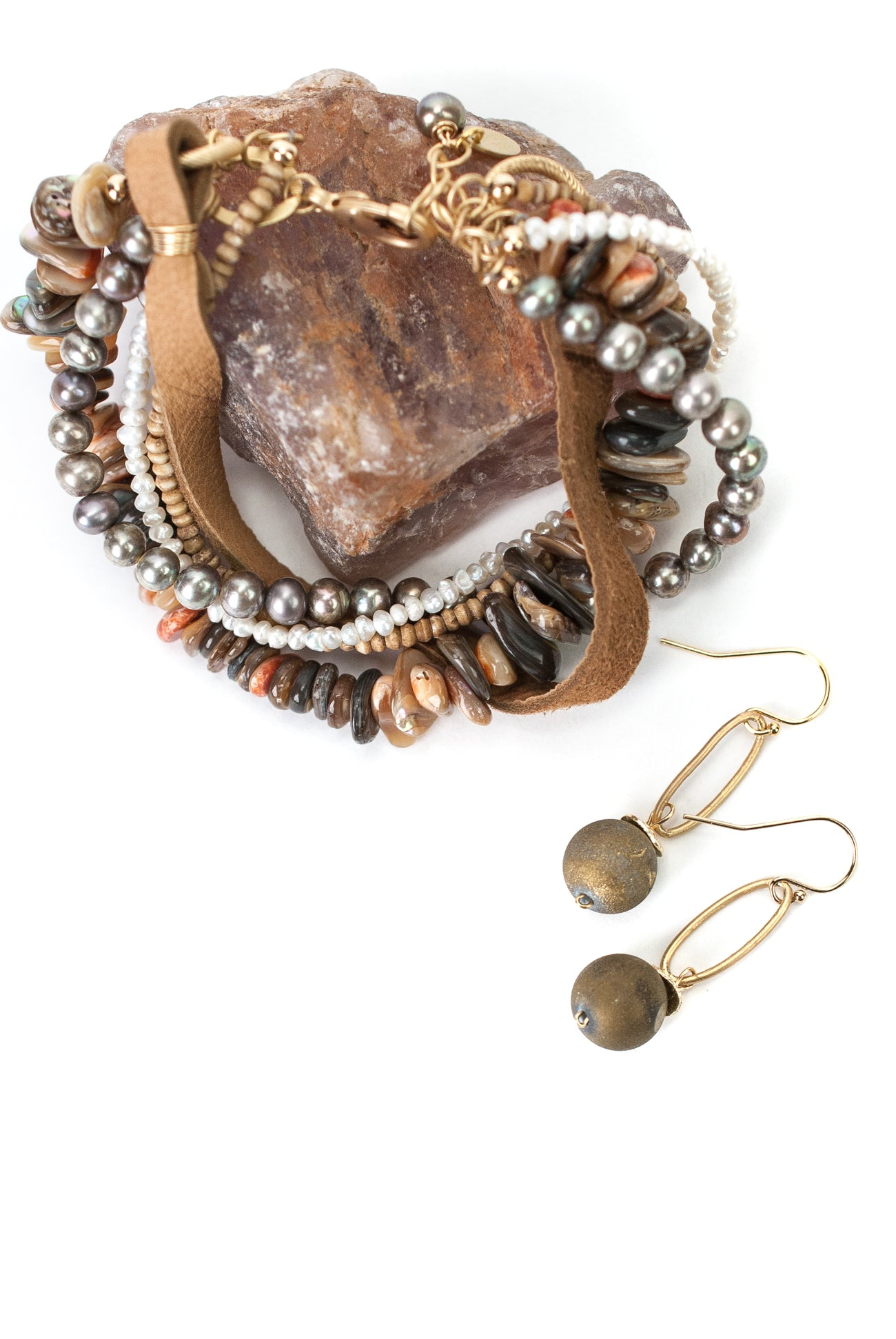 One of a Kind Druzy, Shell, Pearl, Leather Bracelet and Earrings Set
