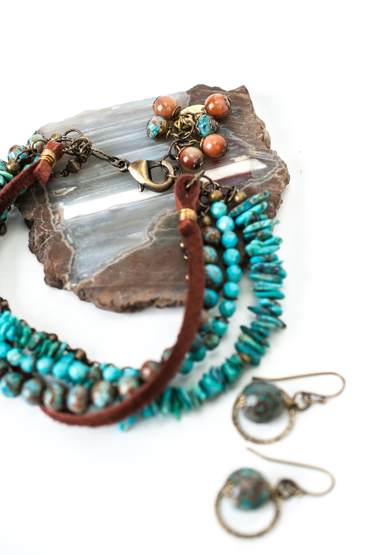 One of a Kind Turquoise, Leather Multistrand Bracelet and Earrings Set