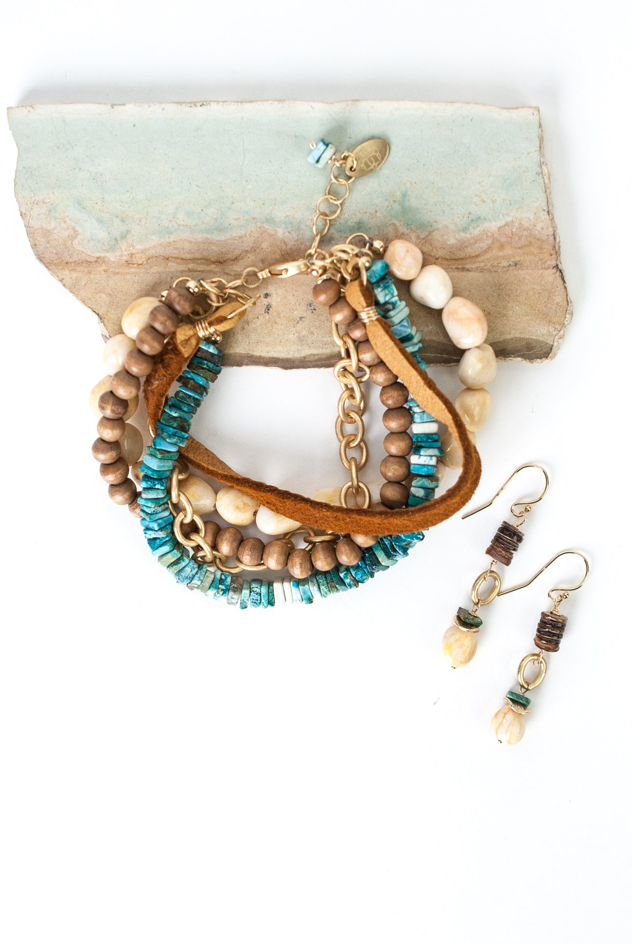 One of a Kind Turquoise, River Pebbles, Wood, Leather Bracelet and Earrings Set