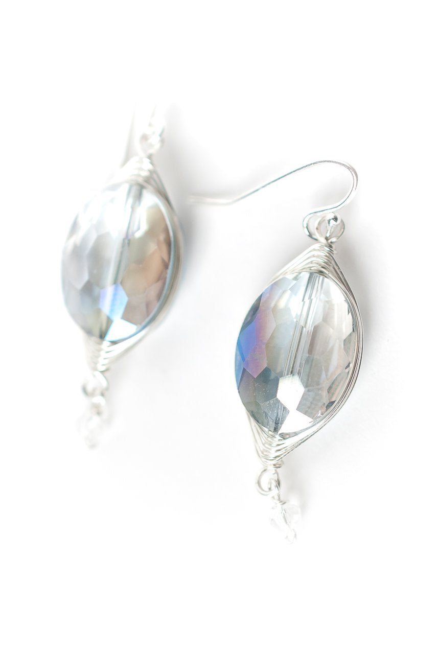 Herringbone Light Blue Oval Dangle Earrings
