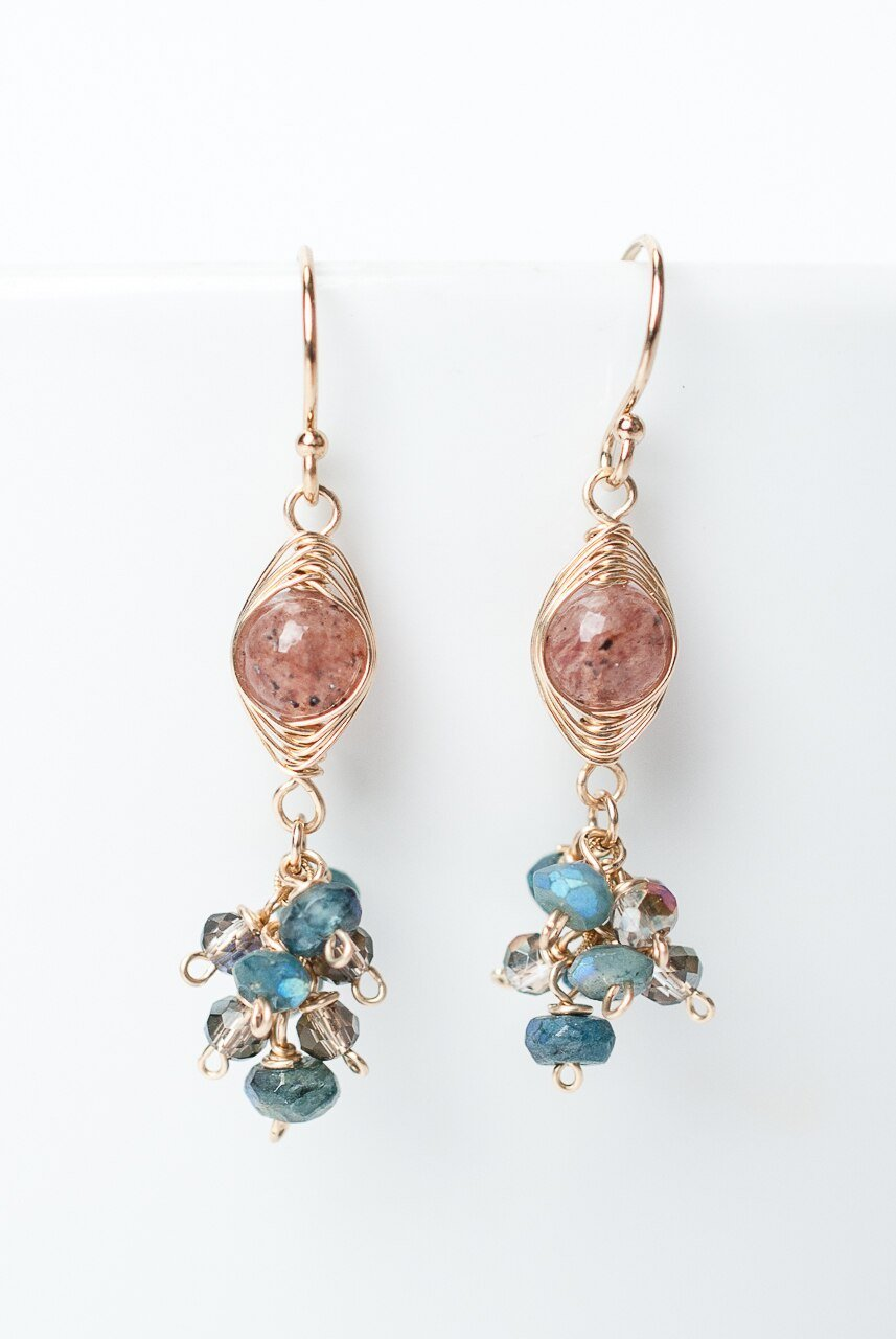 Shenandoah Strawberry Quartz Herringbone Cluster Dangle Earrings