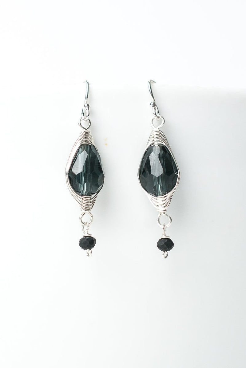 Herringbone Dark Blue Crystal Teardrop Earrings