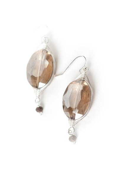 Herringbone Brown Crystal Oval Dangle Earrings