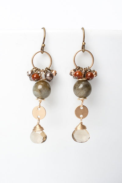 Firelight Labradorite Cluster Dangle Earrings