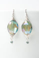 Herringbone Blue Green Oval Dangle Earrings 1