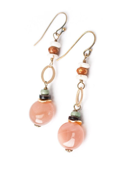Sandalwood Moonstone Dangle Earrings